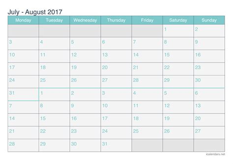 printable calendar july august 2017 july and august 2017 printable calendar icalendars net
