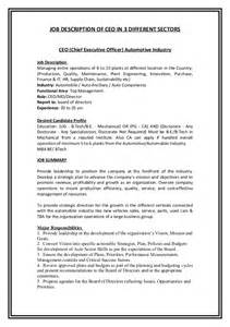 Chief Administrative Officer Description by Desription Of Ceo