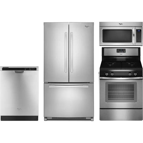 kitchen package deals on appliances whirlpool 4 piece kitchen package with wfg515s0es gas range wrf535smbm refrigerator wdf520padm