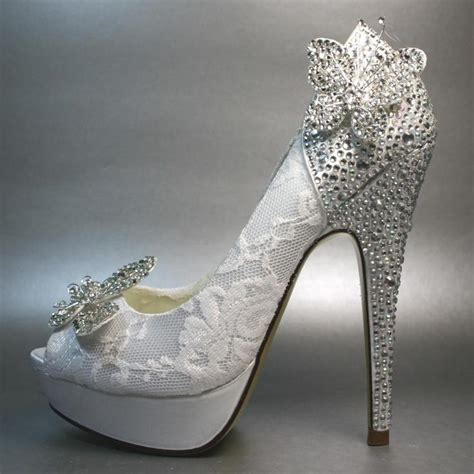 wedding shoes white platform peeptoe with silver