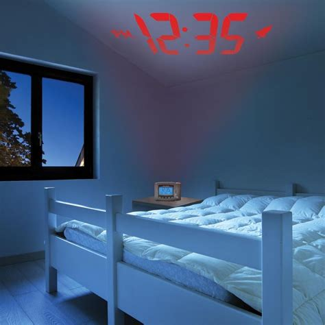 Clock Display On Ceiling by Atomic Projection Clock With Indoor Temperature Alarm Clock