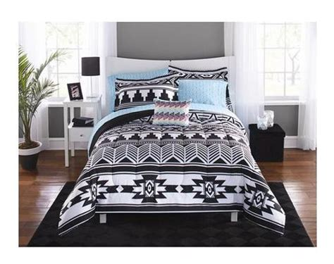Twin Xl College Girl Aztec Black White Southwest Style 6pc White Xl Bedding