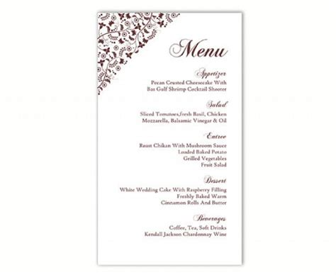 menu card template word wedding menu template diy menu card template editable text