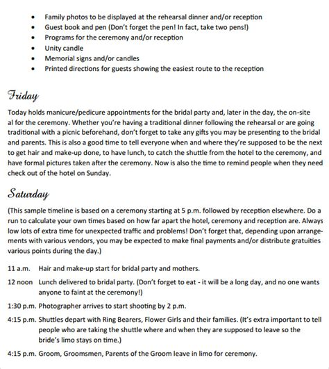 sle wedding weekend itinerary template 12 documents