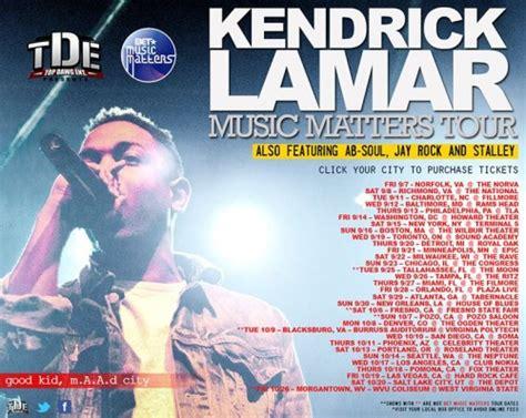 kendrick lamar tour dates kendrick lamar s album good kid m a a d city pushed