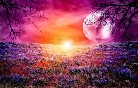 colorful moon wallpaper vollmond fantasie hd desktop hintergrund widescreen high