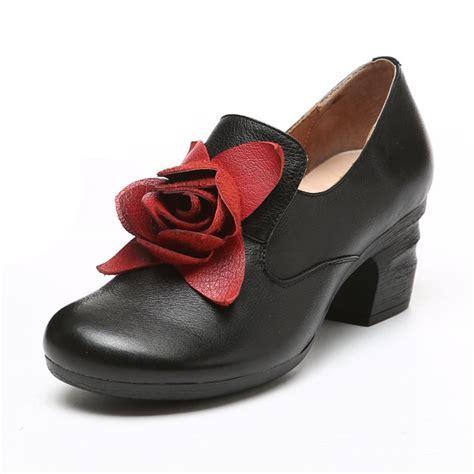rose pattern heels socofy retro handmade rose pattern leather mid heel shoes