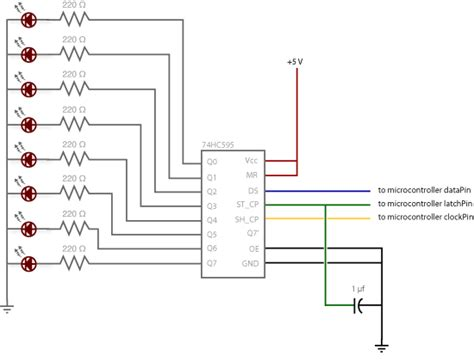 capacitor parallel to led 74hc595 shift register
