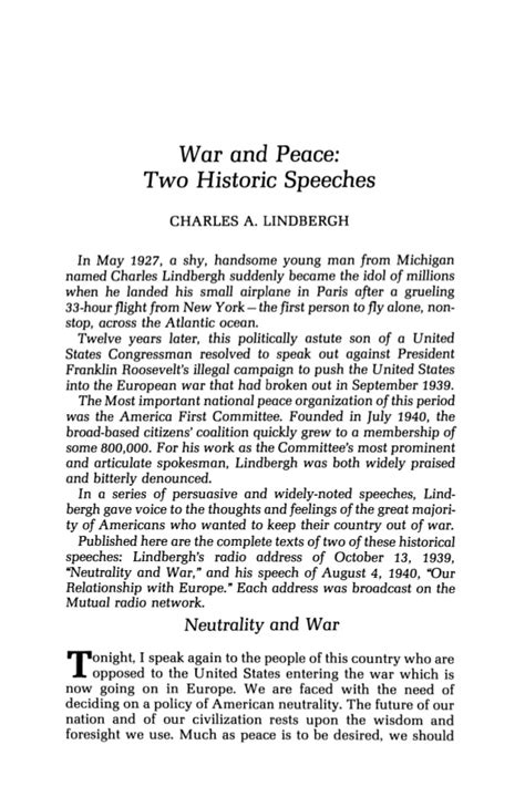 Purpose Of Battle Speeches 2 by Lindbergh Charles A War And Peace Two Historic Speeches