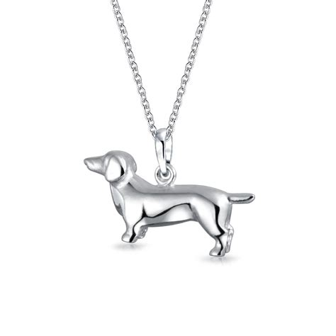 puppy necklace 925 sterling silver dachshund pendant animal necklace 18in