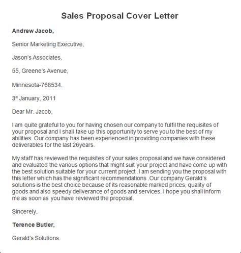 business proposal with cover letter format templates