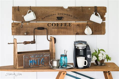Vintage Home Interiors by Reclaimed Wood Old Sign Coffee Stationfunky Junk Interiors