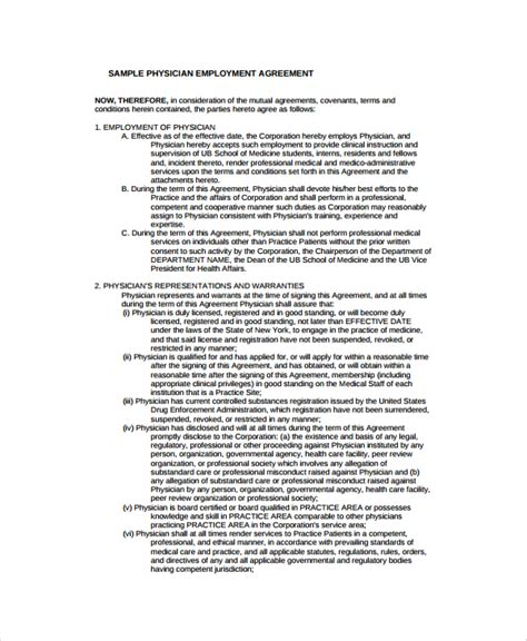 8 Sle Physician Employment Agreements Sle Templates Physician Employment Contract Template