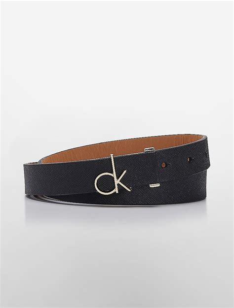 calvin klein womens ck logo plaque saffiano leather belt
