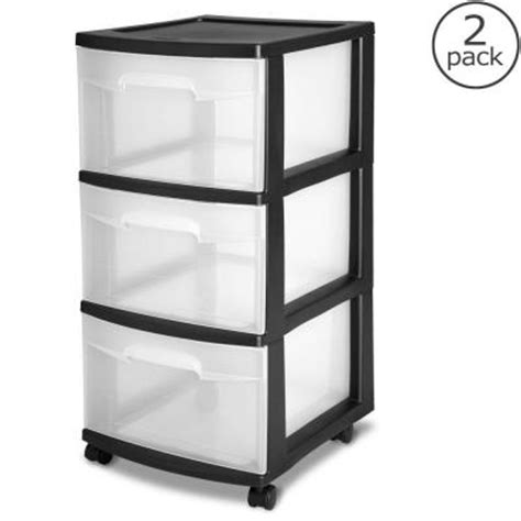 Black Plastic Drawers Sterilite 12 63 In 3 Drawer Plastic Medium Cart In Black