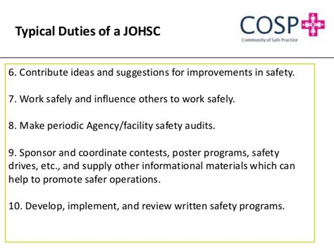 joint occupational health and safety joint occupational health and safety committee effectiveness