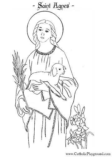 saint agnes catholic coloring page  feast day  jan