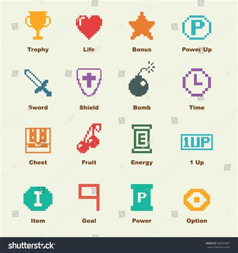 game design elements in vector from stock 8 8 bit game elements vector infographic stock vector