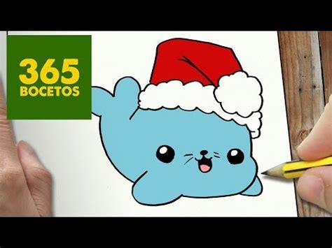 imagenes de dibujos de navidad kawaii como dibujar una foca de navidad kawaii