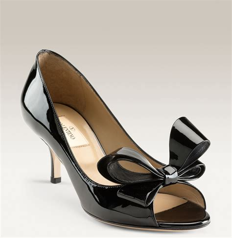 valentino bow shoes valentino couture bow in black black patent lyst