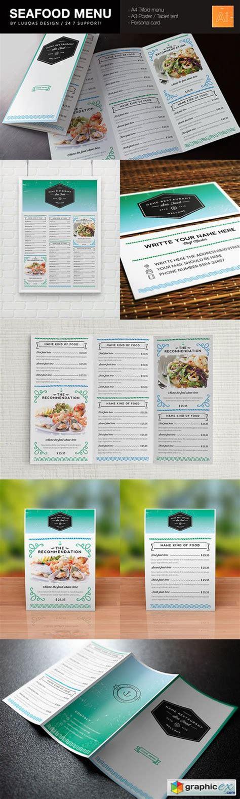 seafood menu template 187 free vector stock image