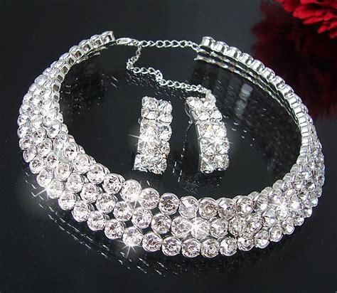 Strass Ohrringe Hochzeit Collier Choker Kette Ohrringe Armband Strass Braut
