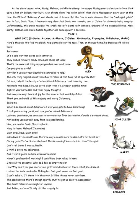cartoon worksheet merry madagascar