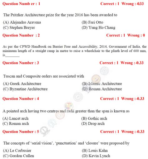 gate architecture  planning ar question papers answer