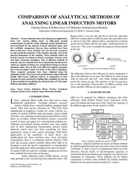 linear induction motor industrial applications comparison of analytical methods of analysing linear induction motors