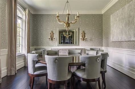 Gray Dining Room with Wainscoting   Transitional   Dining Room