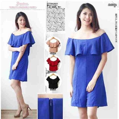 Dress Pesta Mini Hitam Polos Sabrina Katun Murah Import Cina Korea mini dress sabrina i l o v e f a s h i o n s s