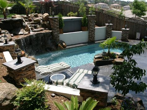 Backyard Landscaping Ideas With Rocks Small Backyard Landscaping Ideas With Rock Decoration And Swimming Pool Design Lestnic