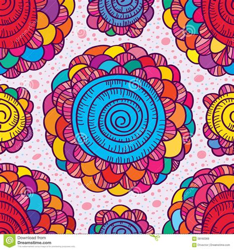 color pattern drawing flower drawing color swirl seamless pattern stock vector