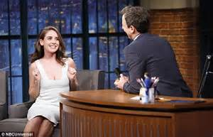 alison brie late show alison brie describes undergarment mishap during early