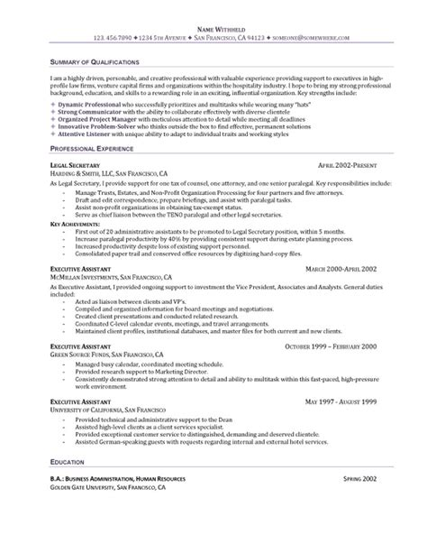 administrative assistant resume summary exles the executive assistant resume recentresumes