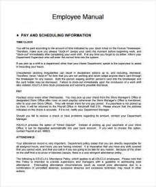 Employee Procedure Manual Template by Sle Employee Manual 8 Documents In Word Pdf