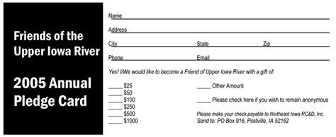 fundraising pledge card template iowa river watershed fund raising