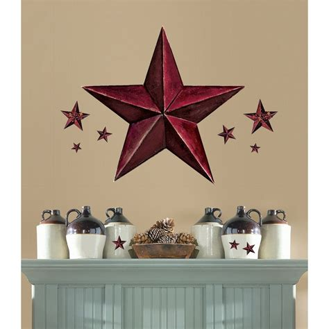 country star decorations home new giant burgundy barn star wall decals country kitchen