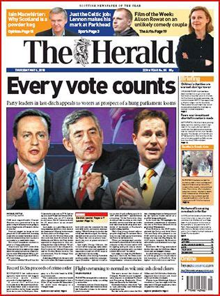 Heralded By The Herald by The Herald Uk Election Day 2010 Newspaper Front Pages