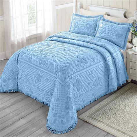 twin bed spreads 100 cotton chenille bedspread soft blue butterfly pattern