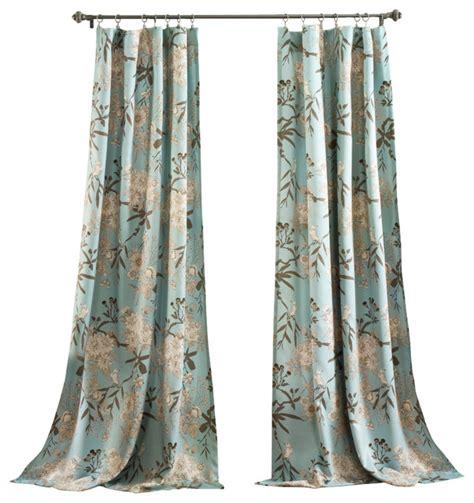 botanical curtains botanical garden window panel set blue curtains by