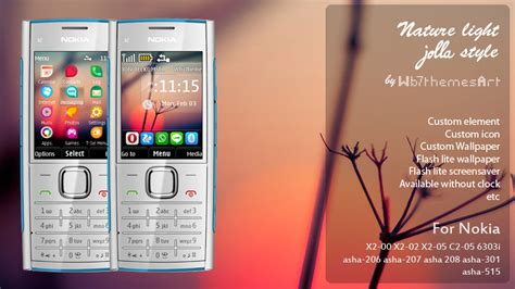 nokia 206 themes nature nature light jolla style theme for nokia x2 00 asha 206