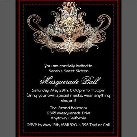 masquerade themed invitation templates custom sweet sixteen masquerade invitations