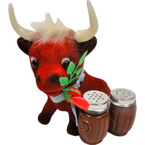 funky salt and pepper shakers funky flocked red bull salt pepper shaker holder from