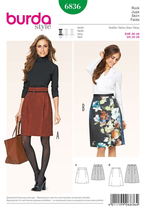 skirt pattern burda burda 6836 skirts