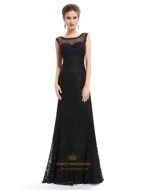 black floor l black floor length illusion neck prom dress with lace