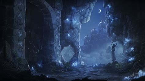 wallpaper cave moon statue knight rocks ancient