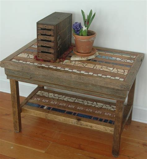 upcycled side table side table of barn wood and upcycled tile by copperswan on
