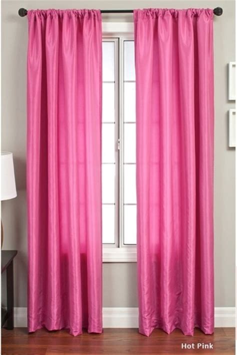 curtains pink luminous 84 inch rod pocket curtain panel hot pink