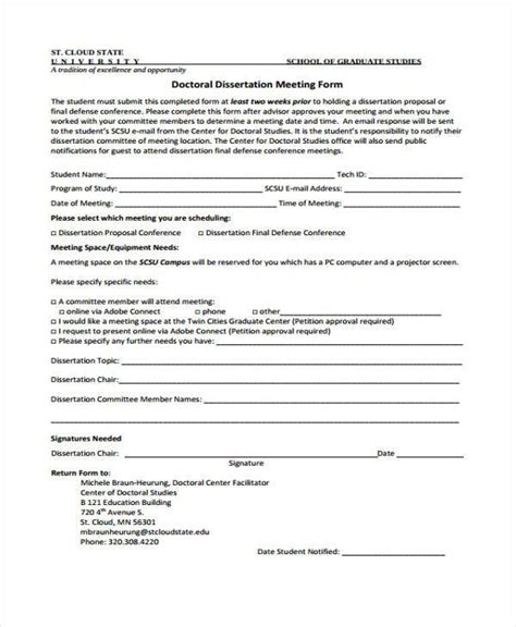 dissertation meeting 9 conference form sles free sle exle